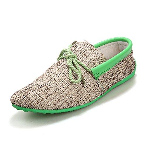 Oriskey Herren Mokassin Bootsschuhe Wildleder Loafers Schuhe Leinenschuhe Flache Canvas Fahren Halbschuhe Sandalen Grün