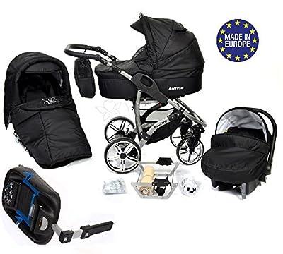 Baby Sportive Allivio - Sistema de viaje 4 en 1, silla de paseo, carrito con capazo y silla de coche + la base ISOFIX, RUEDAS GIRATORIAS, parasol y accesorios