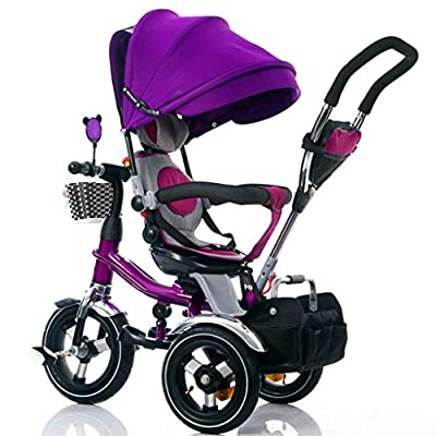 Moolo Kids Trikes Toddlers,With Parent Handle 4 In 1 Tricycle Smart Seat Belts Baby Stroller Pushchair (Color : Purple)