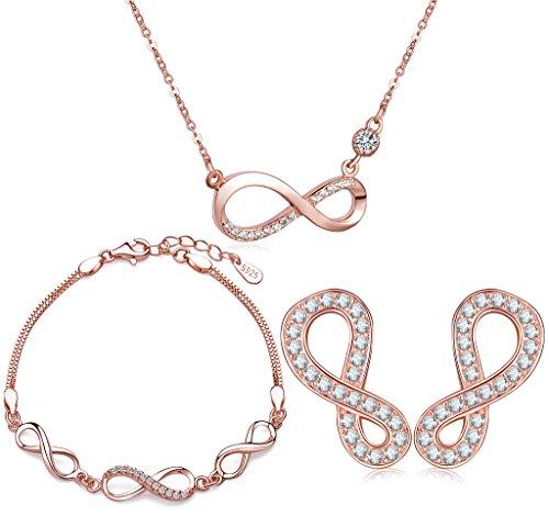 Yumilok Roségold 925 Sterling Silber Zirkonia Unendlichkeit Zeichen Charm Armband Halskette Ohrstecker Schmuck Set Armkette Kette Ohrringe Set für Damen Mädchen