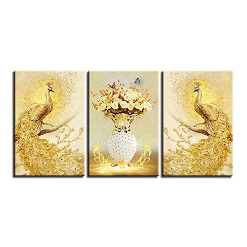 MXmama Wandkunst Leinwand Poster Hd Drucke Bilder Wohnzimmer 3 Stücke Golden Peacock Paar Und Blumen Gemälde 50X70Cmx3 Ungerahmt -