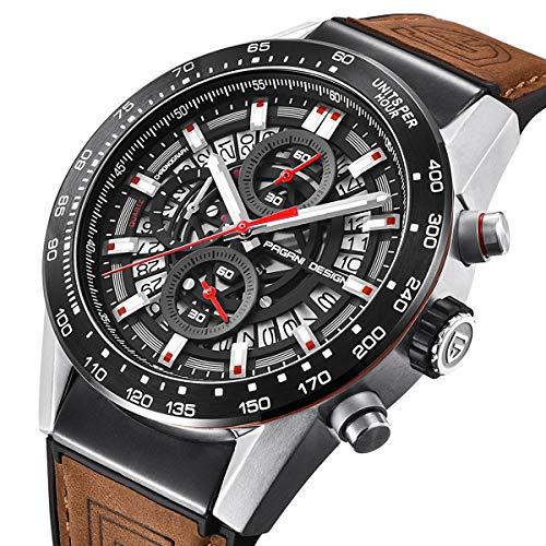 Pagani Design Herren Quarz Chronograph wasserdicht Uhren Business Casual Analog Armbanduhr für Männer