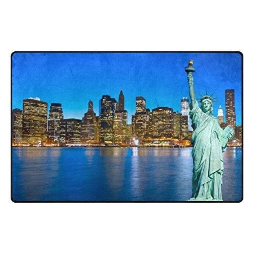 Benni giry Estatua de la Libertad New York Estados Unidos Rango Alfombra antideslizante Diario de DF920felpudos para salón dormitorio 78,7x 50,8cm, poliéster, multicolor, 31 x 20 inch