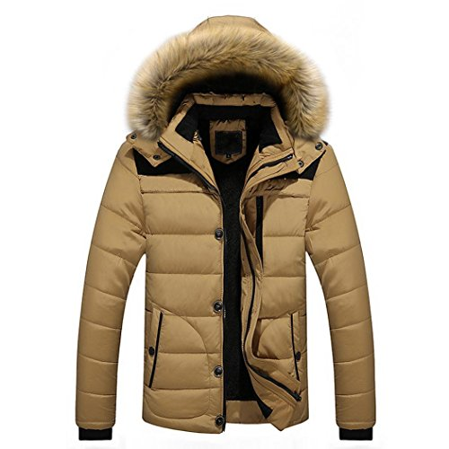 winterjacke Herren Parka Winter Jacke Mit Fellkapuze Wintermantel Mantel Slim Fit (L, Winterjacke Beige) (Baseball Jacke Hülse Leder)