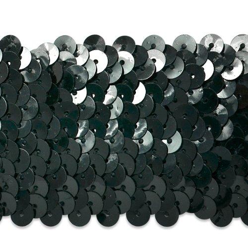 Expo International 9,1von fünfreihiges Metallic Stretch Pailletten Trim, 1–3/4-Zoll, schwarz (Stretch-metallic-pailletten-trim)