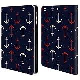 Head Case Designs Rote Und Weisse Anker Marine Muster Brieftasche Handyhülle aus Leder für Apple iPad Mini 1/2 / 3
