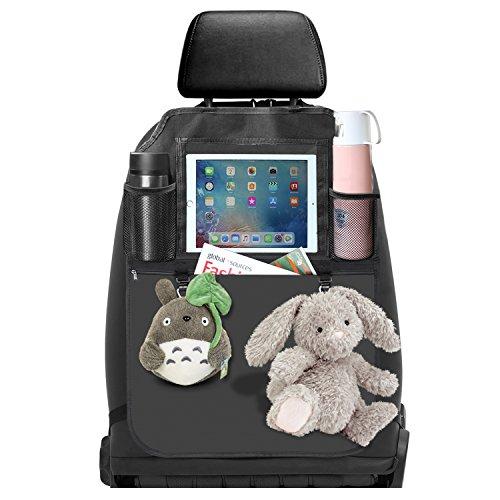 Auto Rückenlehnenschutz,Utensilientaschen,Wasserdicht Multifunktionen Rückenlehnen-Tasche Auto mit Ipad-Tablet-Halter (1 Stk. PU)