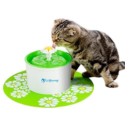 isYoung Fontanella per Gatti Cani Uccelli Animali Domestici, Fontana Filtri Acqua Automatica Esterno Silicone Circolare Sanitario A Carbone Attivo