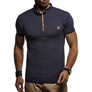 LEIF NELSON Herren Sommer T-Shirt Polo Kragen Slim Fit Baumwolle-Anteil | Basic schwarzes Männer Poloshirts Longsleeve-Sweatshirt Kurzarm | Weißes Kurzarmshirts lang | LN1295