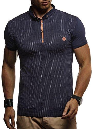 ommer T-Shirt Polo Kragen Slim Fit Baumwolle-Anteil | Basic schwarzes Männer Poloshirts Longsleeve-Sweatshirt Kurzarm | Weißes Kurzarmshirts lang | LN1295 Dunkel Blau X-Large ()