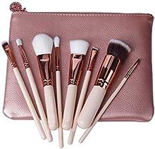 Z-O-E-V-A cepillos del maquillaje 8pcs La marca de fábrica profesional del lujo de oro de Rose compone el kit de herramientas La mezcla del polvo cepillos cosméticos CONJUNTO DE LUJO (ROSA)