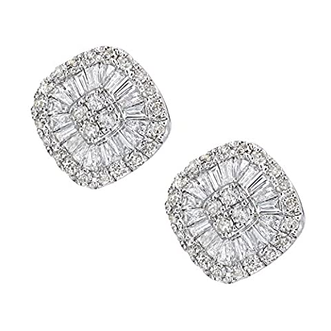 Revoni Boucles d'oreilles clous en or blanc 18 carats et diamants baguette