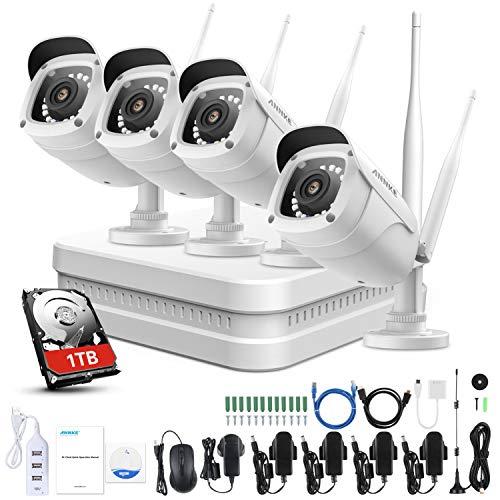 Annke 8ch 1080p fhd sistema di videosorveglianza nvr wi-fi sistema plug and play h.264+ videocamere ip bullet 4 × 1080p visione notturna 100ft con smart ir accesso remoto 1tb hdd