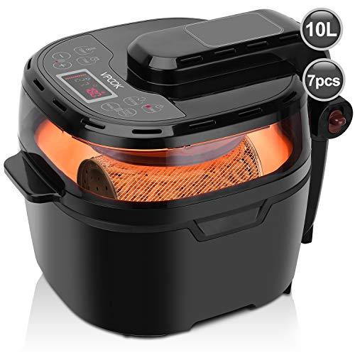 Friggitrice senza olio multifunzione digital VPCOK, friggitrice ad aria 10 litri e 1200w, friggitrice aria calda separabile e digitale elettrodomestici cucina per patate fritte torta cottura al forno