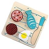 MagiDeal Sicher Spiel Lebensmittel Küchenspielzeug Set - 4*Früchte oder Gemüse + 1*Schneidebrett + 1*Schneider - Kinder Küchenspielzeug Schneideset - Fisch Set