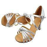 TMKOO& 2017 erwachsenen weiblichen Bauchtanzschuhe Latein Schuhe Frauen in High-Heels Tanzschuhe weichen Boden Tanzschuhe 5cm ( Color : Silber , Größe : 34 )