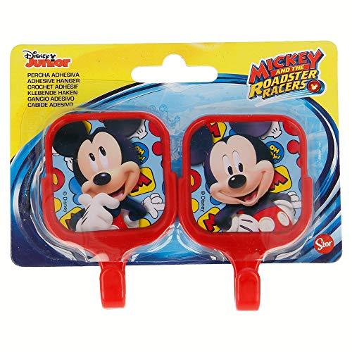 Set 2 unités. Cintres adhésives en plastique carrées 13.4 * 11 cm Mickey