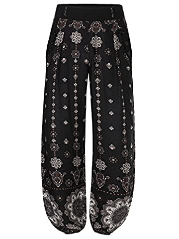 BAISHENGGT Women's Loose Lounge Harem Pants Trousers With Side Pockets Black Floral-1 Medium
