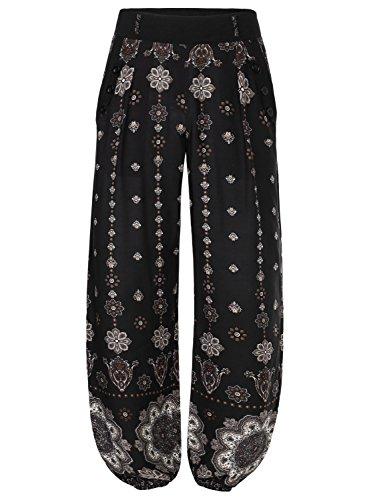 baishenggt-femme-pantalon-bouffant-elastique-extensible-palazzo-casual-sarouels-poche-noir-fleur-l