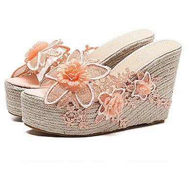 Donna Sandali estate fiore ragazza scarpe abito pu Tacco a cuneo Applique Blushing Pink