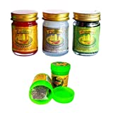 3 x 50g Thai Massagebalsam GREEN - LEMONGRASS - ORANGE rein pflanzlich + Hong Koo Herbal Inhaler aus thailändischen Kräutern und ätherischen Ölen - Thai Wellness Set