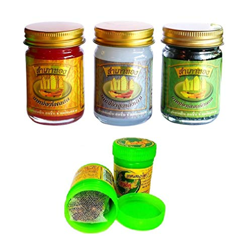 3 x 50g Thai Massagebalsam GREEN - LEMONGRASS - ORANGE rein pflanzlich + Hong Koo Herbal Inhaler aus thailändischen Kräutern und ätherischen Ölen - Thai Wellness Set (Thai-massage öl)