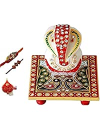 Purpledip Traditional-Rakhi Hamper for Brother: Marble Chowki Ganesha - Set of 2 Rakhi and Pack of Roli Chawal in Red Paan Packing (rakhi1a)