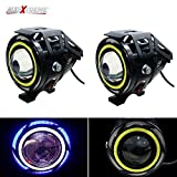 #8: AllExtreme U11 CREE LED light Headlight Spotlight Driving Fog Light for Cars motorcycle Truck Boat with Blue White Ring Strip Color Light Angel Eye (Pack of 2)