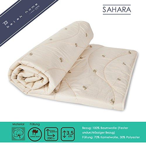 BALAK HOME® Premium Bettdecke Steppdecke Sahara (200 x 220 cm) aus 100% Baumwolle   Füllung - leicht   Echte Kamelwolle   Gesundes und wohliges Schlafklima   Original OEKO-TEX   Direkt vom Hersteller