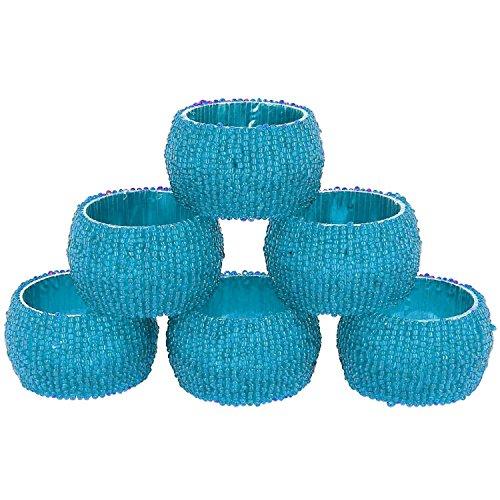Serviette Set Ring 6 Pack Servietten Halter Glas Perlen handgefertigte Vintage Runde Teal - 6,4 cm - Teal Serviette Ring