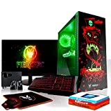 Fierce Maniac RGB Gaming PC Bundeln - Schnell 3.6GHz Quad-Core Intel Core i3 8100, 480GB SSD, 16GB, AMD Radeon RX 550 2GB, Windows 10, Tastatur (QWERTZ), Maus, 24-Zoll-Monitor, Lautsprecher 1067503