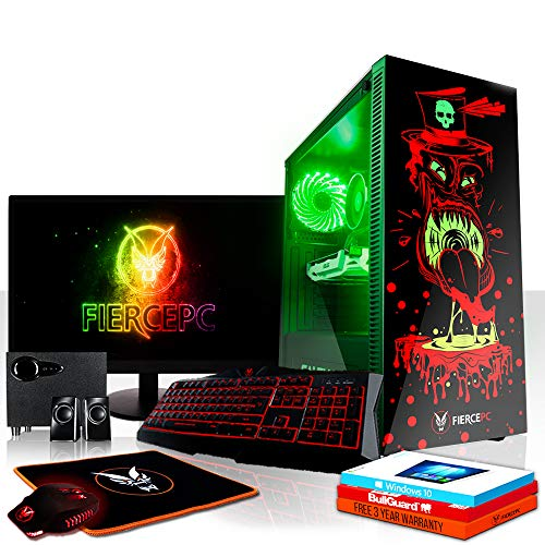 Fierce Scorpion High-End RGB Gaming PC Bundeln - 4.0GHz 4-Core AMD Ryzen 3 2300X, 480GB SSD, 16GB, NVIDIA GeForce RTX 2070 8GB, Win 10, Tastatur (QWERTZ), Maus, 24-Zoll-Monitor, Lautsprecher 1124977
