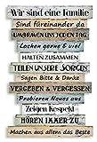 Holzschild Holzbild Wandbild mit Familienregeln im Shabby Chic Stil zum Aufhängen - bunt Familie Regeln Schild Holz Latten Dekoschild Wanddeko Bild Vintage Family