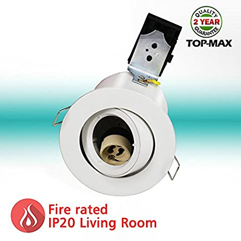 TOP-MAX Recessed Ceiling Light Fire Rated Downlights IP20 Tilt Adjustable Version White Finish Die Cast Aluminium Mains GU10 240V Living Room Kitchen Office Exhibition Store School (LED Bulbs Are Not Included)