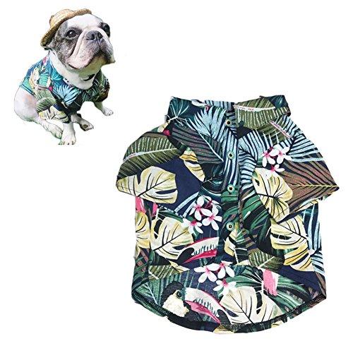 Kostüm Mops Kinder - Meioro Haustier Kleidung Hund Kleidung Bequem Dog Shirt Hawaiian Style Strand Stil Baumwolle Material Puppy Französischen Bulldogge Mops, M, Type-2