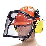 BITUXX Forstschutzhelm Arbeitsschutzhelm Sicherheitshelm Helm Bauhelm Schutzhelm mit Visier Gesichtsschutz und Gehörschutz