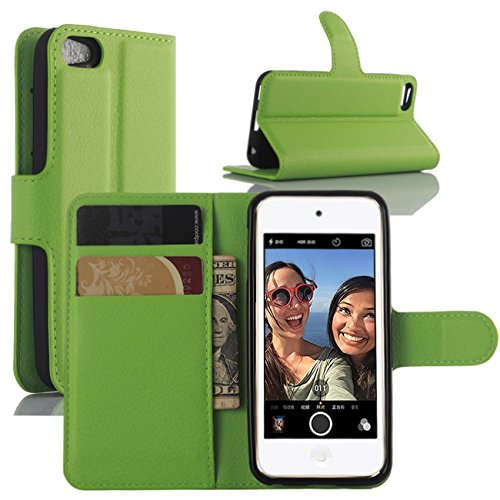 iPod Touch 5 / 6 Hülle, iPod Touch 5G / 6G Hülle, HualuBro [All Around Schutz] Premium PU Leder Wallet Flip Handy Schutzhülle Tasche Case Cover mit Karten Slot für Apple iPod Touch 5 / 6 Generation Smartphone (Grün)