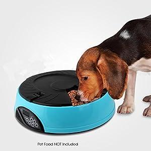 Amzdeal Distributeur automatique de croquettes pour 6 repas des animaux de compagnie, Distributeur de nourriture pour chien et chat avec rappel vocal - Bleu