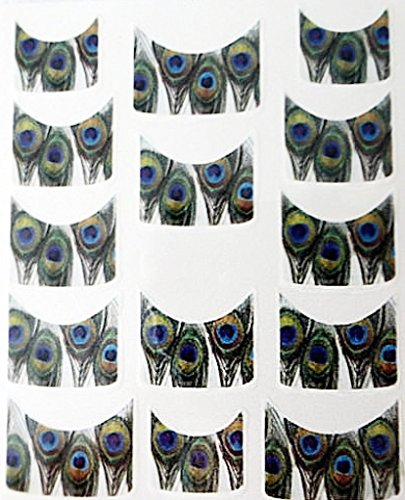 Nail art manucure stickers ongles scrapbooking: 14 décalcomanies motifs plumes de paon