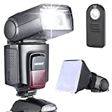 Neewer - Kit di TT560 Flash Speedlite per Canon Nikon Olympus Fujifilm e Qualsiasi Fotocamera Digitale Munita di Slitta Hotshoe Standard, Inclusi: Neewer Flash + Diffusore Softbox + Telecomando Universale Wireless a Infrarossi immagine