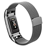 Hanlesi Fitbit Charge 2 Armband, Edelstahl Armbanduhren Watch Band Fitness für Fitbit Charge 2 (Groß, grau)