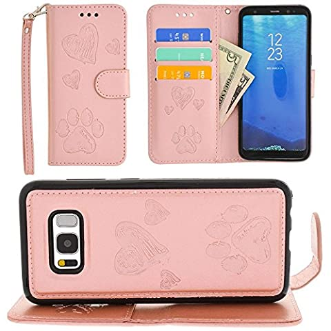 CellularOutfitter Samsung Galaxy S8 Wallet Case - Embossed Puppy Love Design w/ Matching Detachable Case and Wristlet - Rose Gold