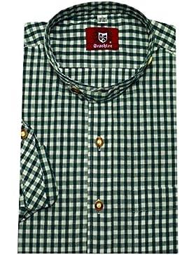 Trachten Hemd mit Stehkragen dunkel grün weiß kariert Krempelarm Orbis 0091 M bis 3XL