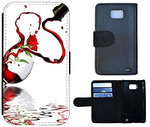 Flip Cover Schutz Hülle Handy Tasche Etui Case für (Apple iPhone 4 / 4s, 1217 Strand Urlaub Muscheln Braun Blau) 1216 Wein Herz Abstract Rot Weiß