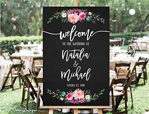 Bair89Pulla Welcome Wedding Sign Kreidetafel Welcome to Our Wedding Sign Pink Flowers Printable Sign Digital File