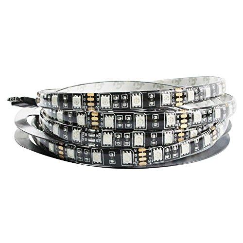 tesfish-5m-noir-pcb-5050-bande-led-etanche-ip65-300-smd-noir-chaud-tableau-blanc-dc-12v-eclairage-fl