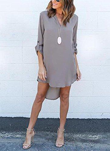 Gladiolus Donna Casual Chiffon Maniche Lunghe Camicetta Con Scollo V Camicia Tops Shirt Sciolto Camicie Grigio