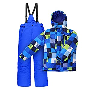 Outburst Nickel Kinder Skianzug Skijacke + Skihose Blau Grün Kariert winddicht Größenwahl