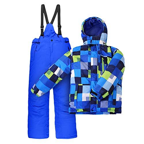 Outburst Nickel Kinder Skianzug Skijacke + Skihose Blau Grün Kariert Winddicht Größe 116   04260457083407