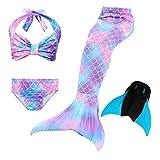 Le SSara 2018 Mädchen Meerjungfrau Tails Bikini Badeanzug setzt 4 Stücke Bademode mit Flosse für Schwimmen Cosplay Partei (150, DH48-Blue)